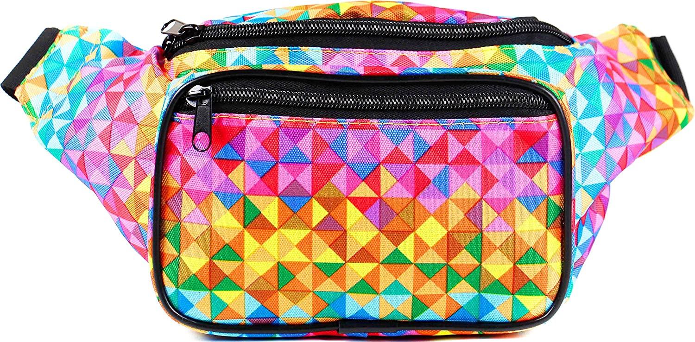 SoJourner Holographic Rave Fanny Pack - Packs for festival women, men | Cute Fashion Waist Bag Belt Bags (Rainbow Raver)