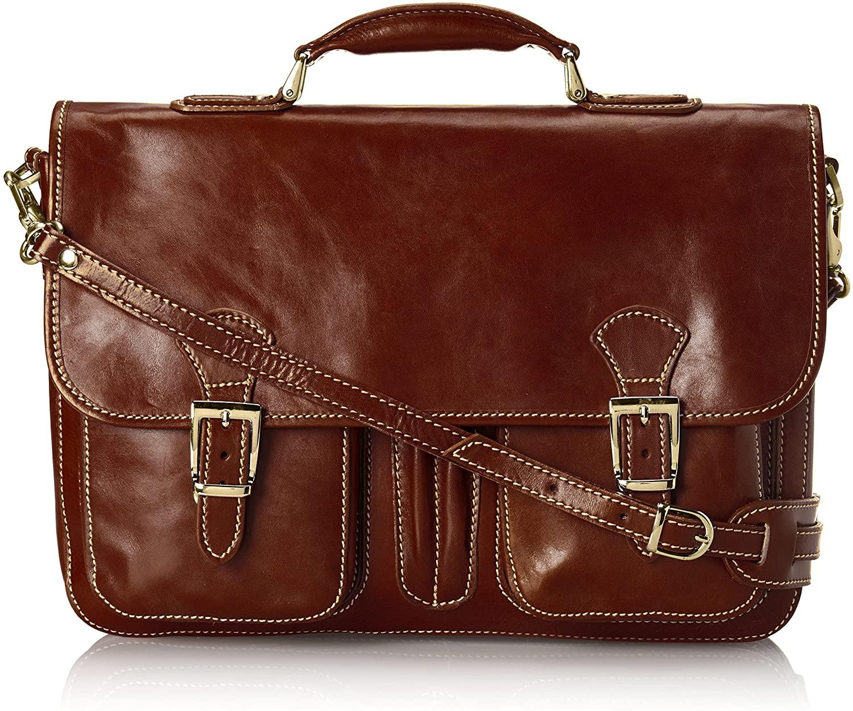 Floto Procida Italian Calfskin Leather Messenger Bag, Vecchio Brown, One Size