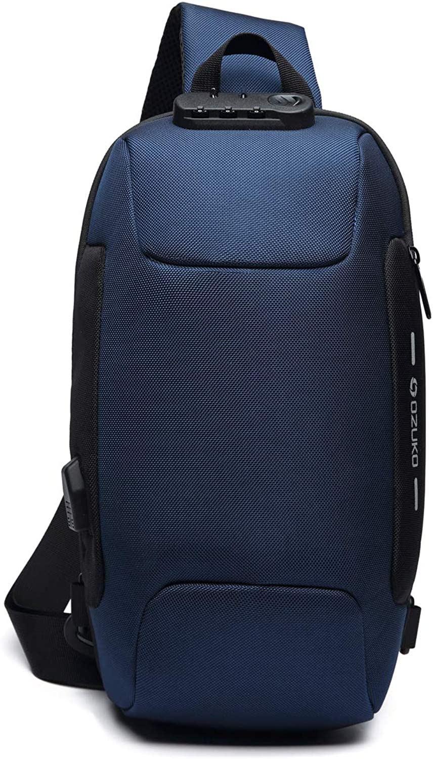 Chest Bag Anti-theft Lock Oxford Fabric Fashion Casual Daypacks with USB Charging Port 9223