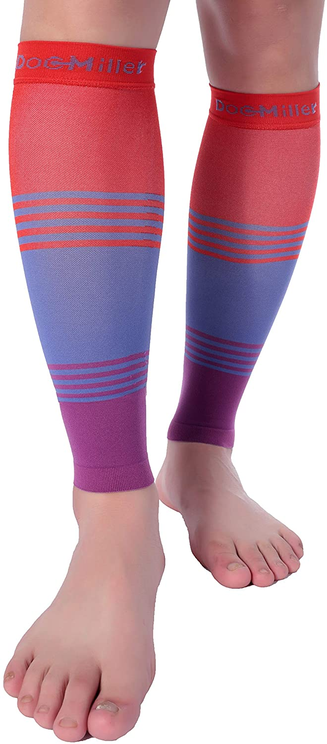 Do Miller Premium Calf Compression Sleeve Dress Series 1 Pair 20-30mmHg Strong Calf Support Cute Toeless Socks Sports Running Recovery Shin Splints Varicose Veins (RedBluePurople, Medium)