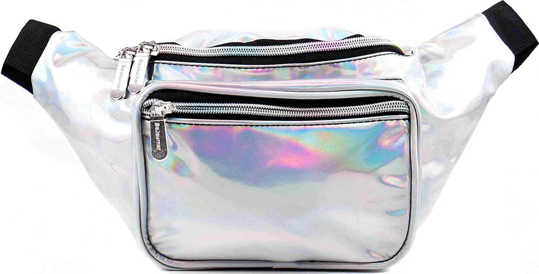 SoJourner Holographic Rave Fanny Pack - Packs for festival women, men | Cute Fashion Waist Bag Belt Bags (Silver)