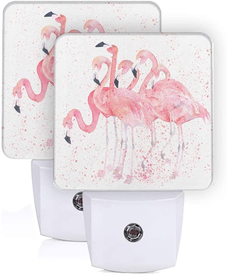 Britimes2PackNightLightAutoSensorLEDDusktoDawnNightlightPluginIndoorBedroomBathroomDecorHallwayStairways Pink Flamingo