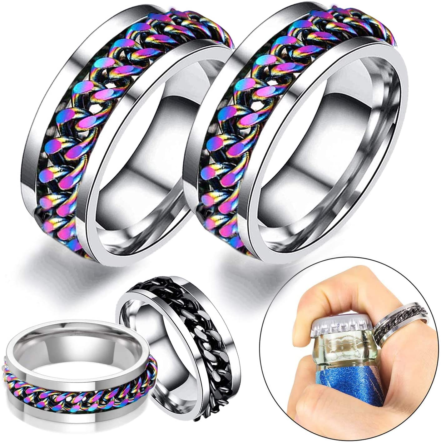 Byhoo Ring Bottle Opener Tool Magic Colorful Special for Women men Polished Personalized Titanium Stainless Steel with Inner Hyun Color Chain Perfect Jewelry Gift Silver + Hyun Color, Size 10 (2 PCS)