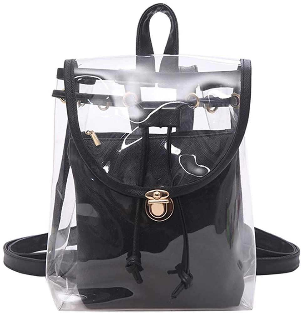 Mini Clear Backpack with Removable Pouch Transparent PVC Shoulder Bag Handbag