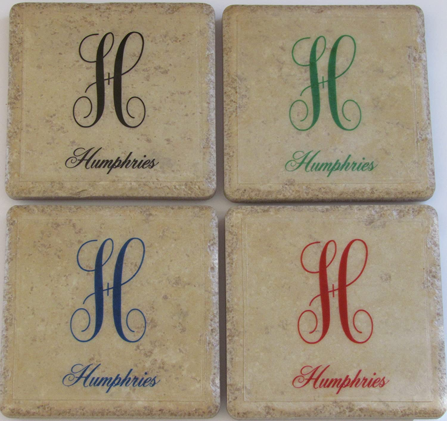 Personalized Coasters - Initial & Name - Set of 4 - Monogram Coasters - Stone Coasters - Drink Coasters - Wedding Coasters - Tile Coasters - Coaster Set - Anniversary Coasters - Marble Coasters