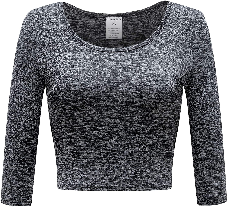 OThread & Co. Women's Crop Top Performance Activewear Running Workout Moisture-Wicking 3/4 Sleeve T-Shirt