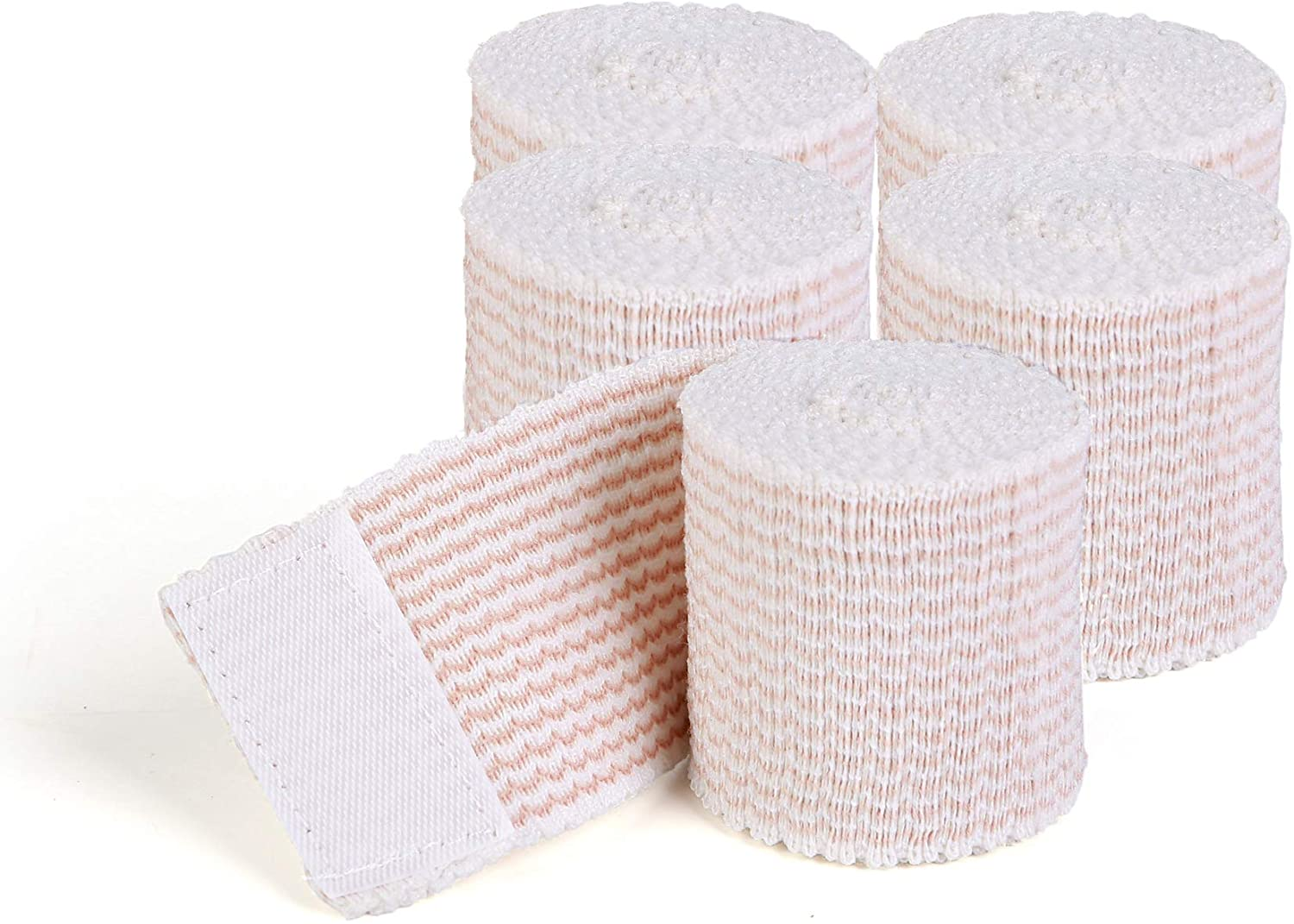 HOSPORA Cotton Elastic Bandage, 2 Inch x 13-15 feet Stretched Length with Hook and Loop Closure, Latex-Free Compression Bandage(Pack of 5)