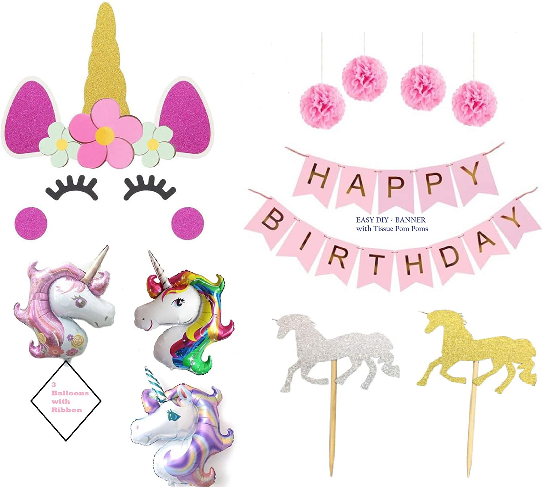 Pink Unicorn Birthday Party Decorations - Unicorn Balloons Decoration Banner Set - Unicornio Cake Cupcake Cumpleanos Bundle by Jolly Jon ®