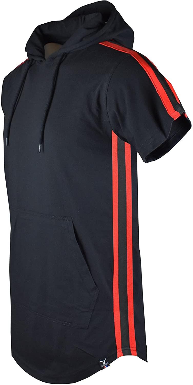 SCREENSHOTBRAND-S11812P Mens Hip Hop Longline Premium Tee - Pullover Short Sleeve Fashion Hooded Shirt Side Stripe Basic-Black-Medium