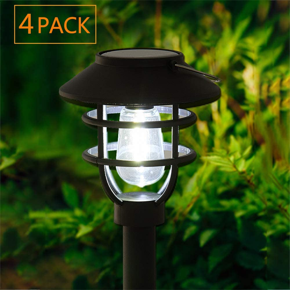 Solar Pathway Lights Outdoor Waterproof - 4pack Pearlstar Solar Powered Garden Path Lights with Bright Cool White Edison Light Bulb for Yard Patio Lawn Driveway Landscape,Waterproof, Black