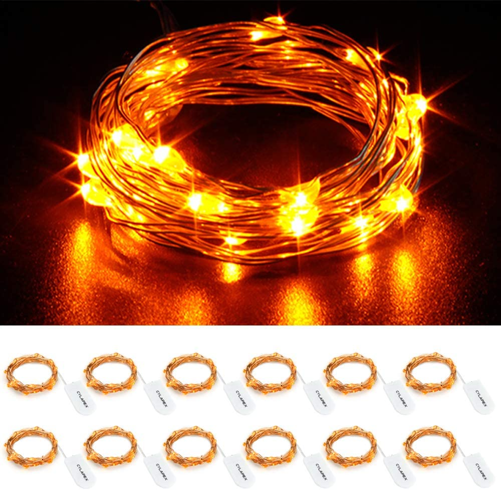 CYLAPEX 12 Pack Orange Fairy String Lights Battery Operated Fairy Lights Starry String Lights on 3.3ft/1m Silvery Copper Wire DIY Christmas Decoration Costume Wedding Party Halloween Easter