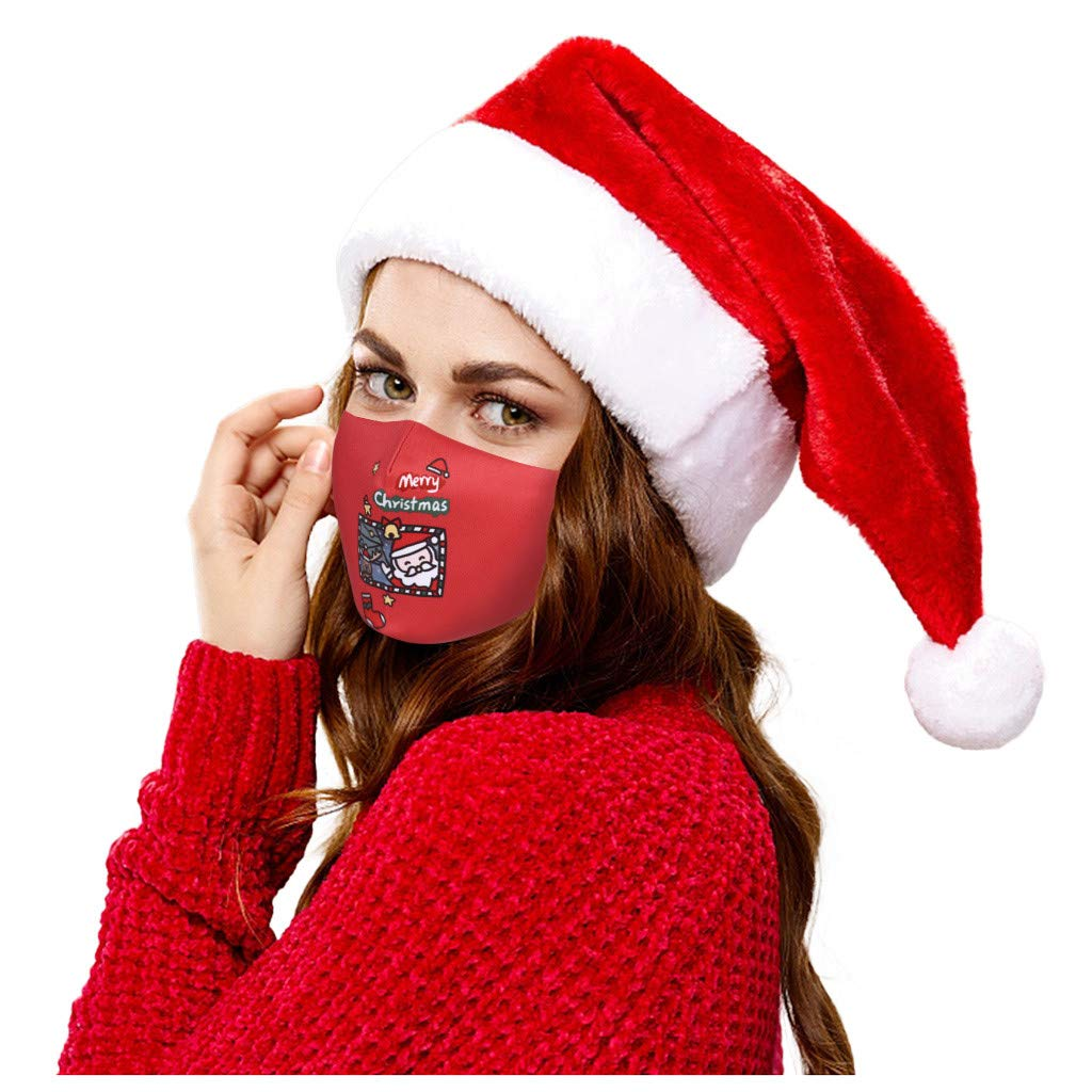 Walsent Comfortable Adjustable Merry Christmas Adult Reusable Facial Decorations Mouth Face Bandanas Protective For Women And Men,1PC