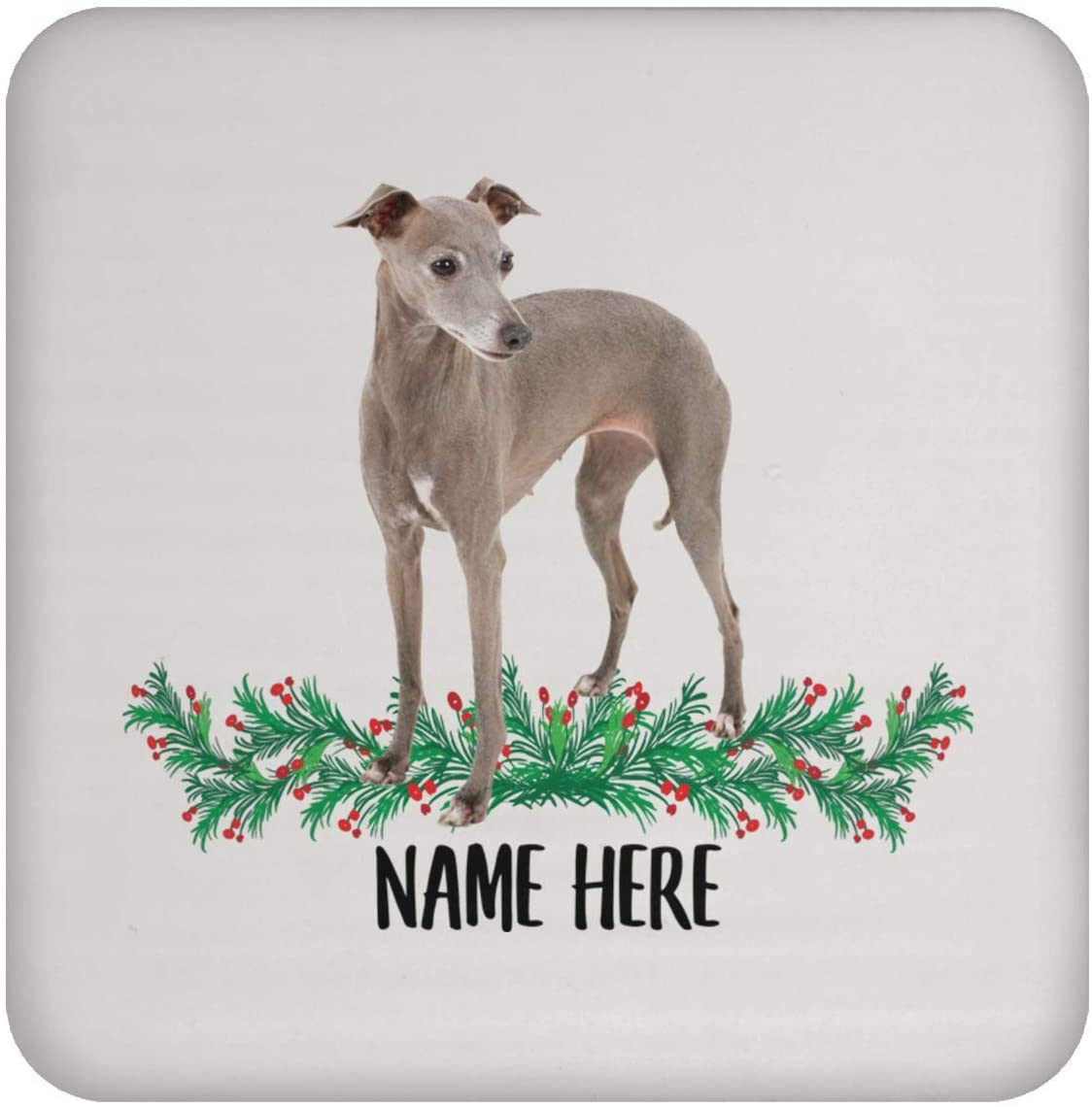 Funny Italian Greyhound Slate Grey Personalized Name Gift for Mom Coasters for Drinks