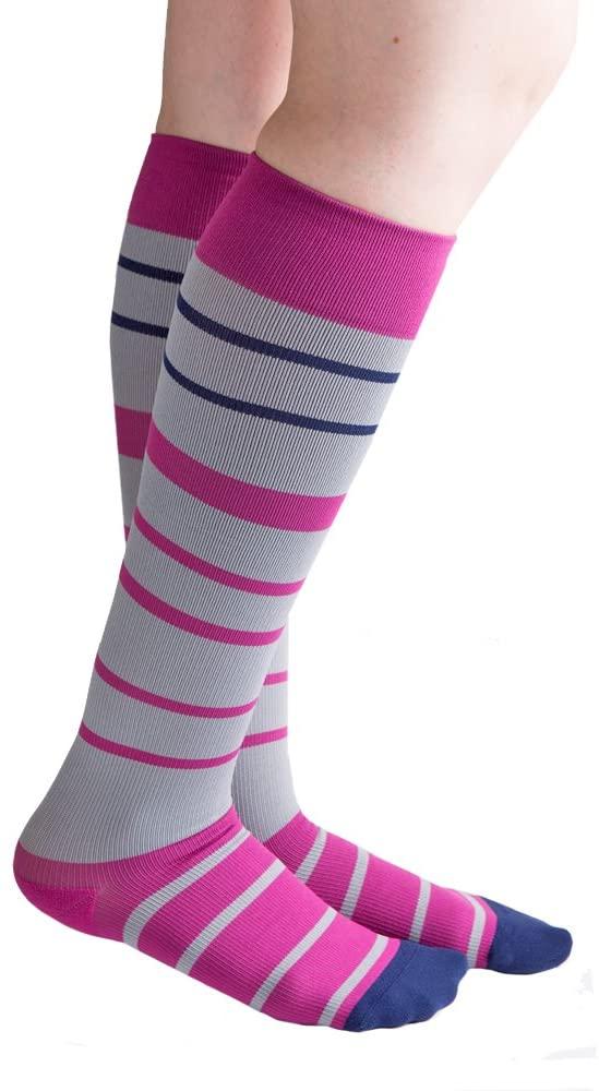 VenaCouture Womens 15-20 mmHg Compression Socks, Bold Barcode Stripe Pattern