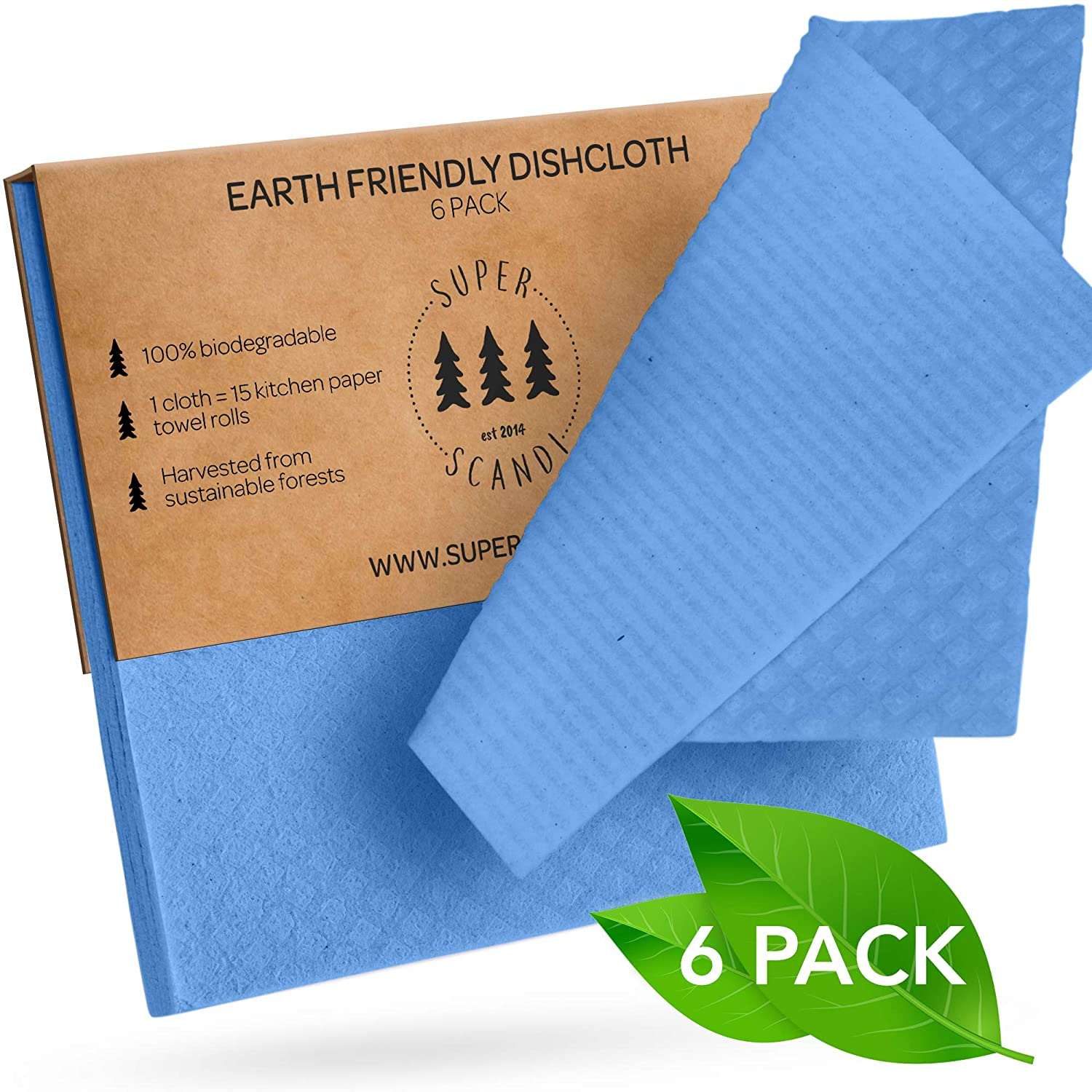 SUPERSCANDI Swedish Dishcloths Eco Friendly Reusable Sustainable Biodegradable Cellulose Sponge Cleaning Cloths for Kitchen Dish Rags Washing Wipes Paper Towel Replacement Washcloths (6 Pack Blue)