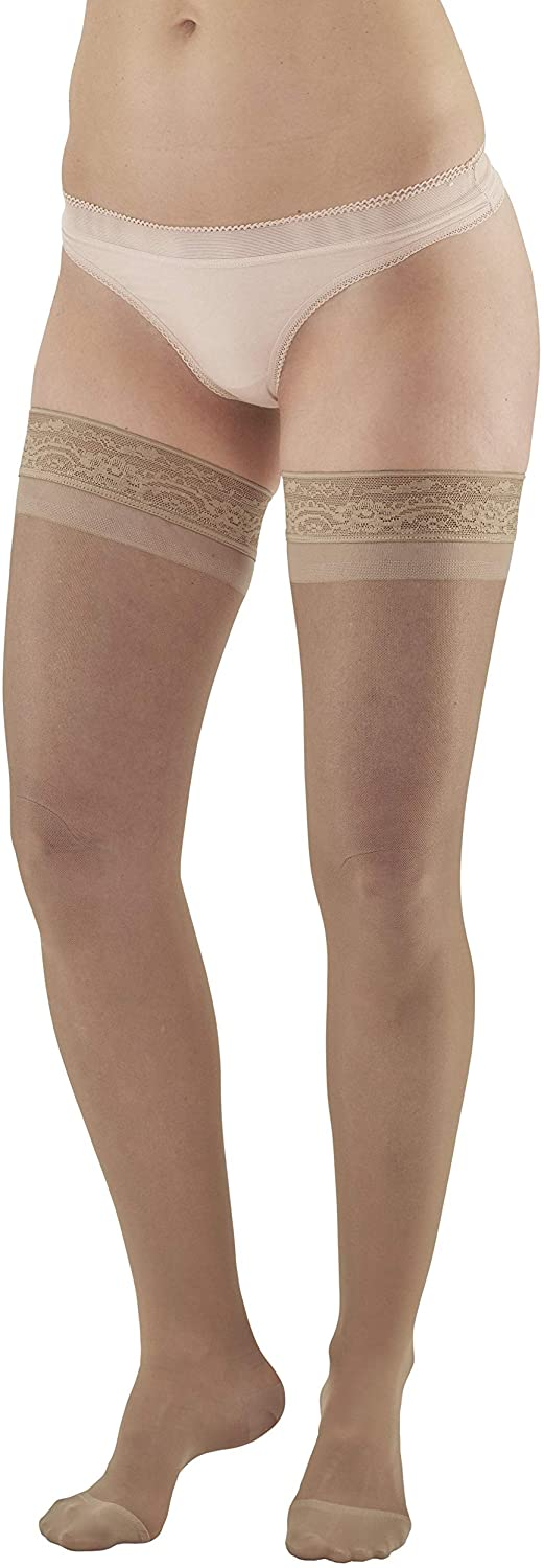 Ames Walker AW Style 4 Sheer Support 15 20mmHg CT Thigh Highs w/Band Nude MD