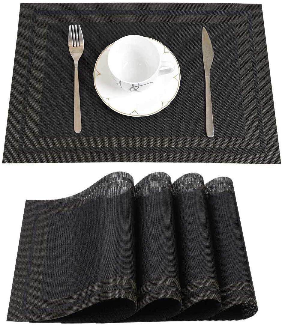 Deep Dream Placemat, 4-Pack Heat-Resistant Placemats Stain Resistant Anti-Skid Washable PVC Table Mats Woven Vinyl Placemats (Black Gold)