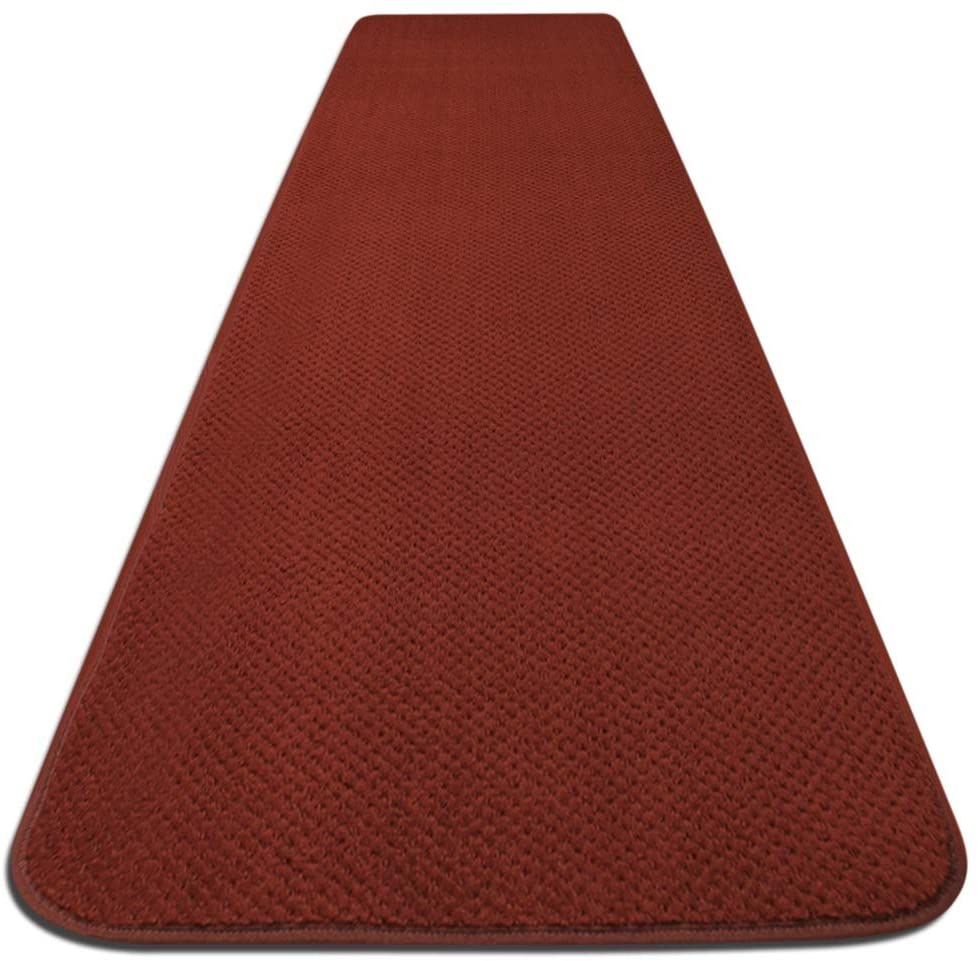 House, Home and More Skid-Resistant Carpet Runner - Brick Red - 4 Feet X 36 Inches