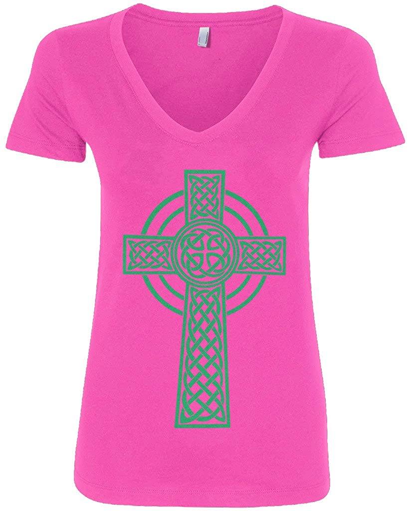 Threadrock Women's Green Celtic Cross V-Neck T-Shirt