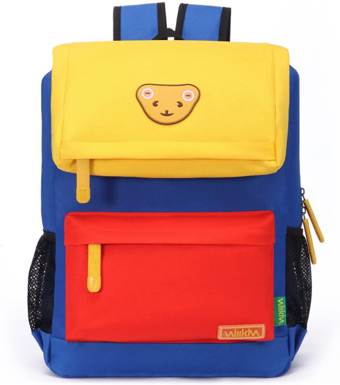 Willikiva Cute Bear Kids School Backpack for Children Elementary School Bags Girls Boys Bookbags (Yellow/Orange/Azure, Medium)
