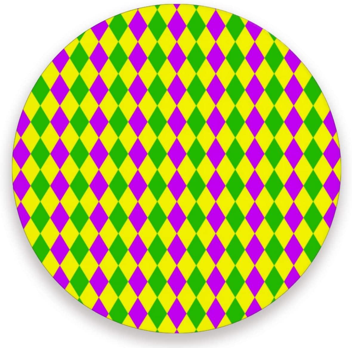 Olinyou Mardi Gras Zigzag Purple Green Yellow Rhombus Coasters for Drinks Set of 4 Absorbent Ceramic Stone Round Coaster with Cork Base
