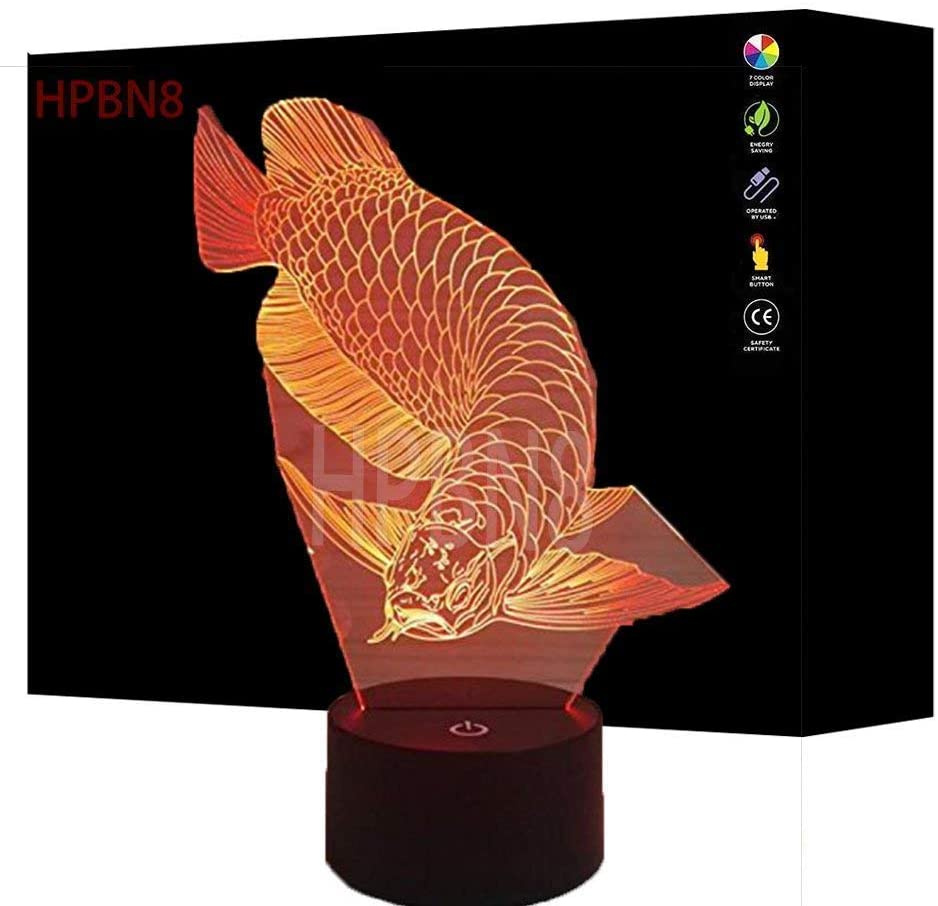 3D Golden Dragon Fish Night Light USB Touch Switch Decor Table Desk Optical Illusion Lamps 7 Color Changing Lights LED Table Lamp Xmas Home Love Brithday Children Kids Decor Toy Gift