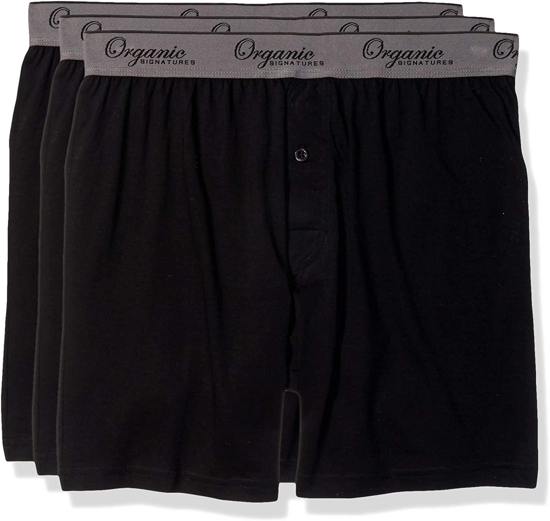 Organic Signatures Men's Classic Cotton Knit Boxers 100% Natural Comfort, 3-Pack