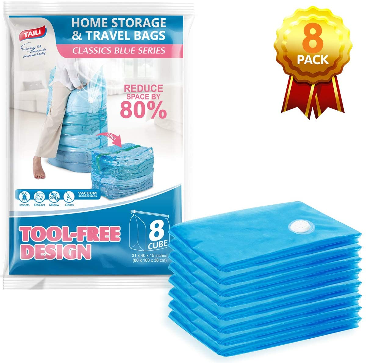 TAILI Vacuum Storage Space Saver Bags 8 Jumbo Cube Pack Vacuum Sealer Bags for Clothes Bedding Comforter Quilts Pillows-No Pump No Cap 80% Space Saving Design