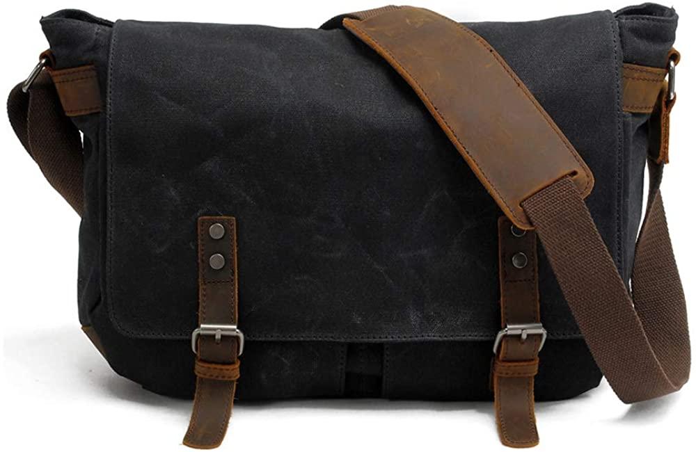 Naiver Mens Messenger Bag, Genuine Leather Canvas Messenger Bag, Waterproof Laptop Messenger Bag For 15.6 inch Laptop