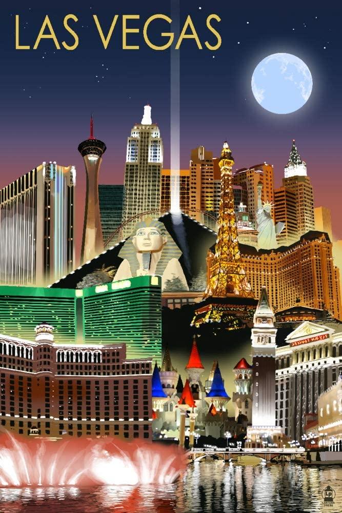Las Vegas, Nevada - Las Vegas at Night (9x12 Art Print, Wall Decor Travel Poster)