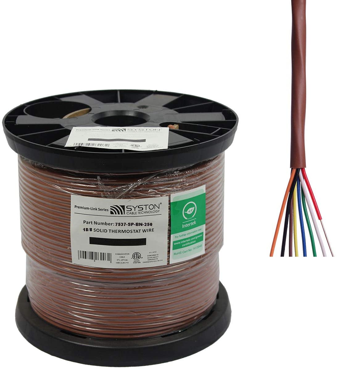 18/8 Solid, HVAC-Thermostat Cable, UL/ETL CL3R/CMR/FT4, 18AWG 8 Pure Copper Conductors, Indoor/Outdoor UV Resistant RoHS Brown 250ft Spool
