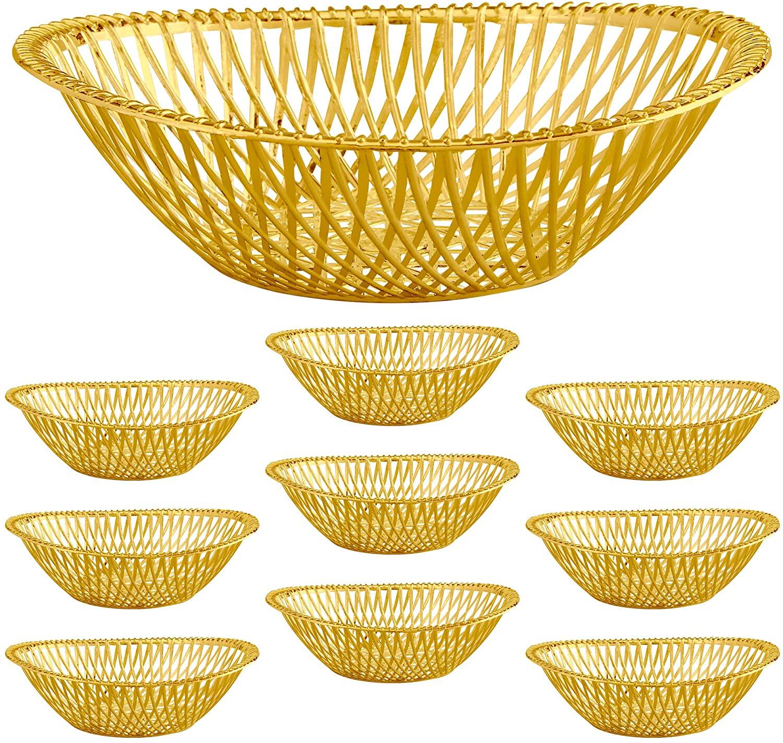 "Medium Plastic Gold Bread Baskets - 10pk. Reusable 10"" Oval Food Storage Basket - Elegant Modern Décor for Kitchen, Restaurant, Centerpiece Display - by Impressive Creations"
