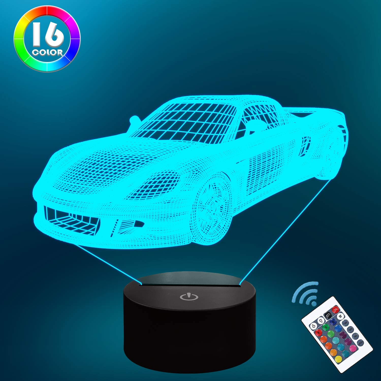 Lampeez Car Gifts,Car Night Lamp for Kids with Remote & 16 Color Changing Nightlight, Dimmable,Creative Gift Idea as Xmas Holiday Birthday Gifts