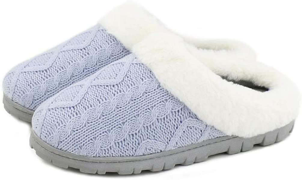 Homlady Women Cozy Knit Fleece Faux Fur Collar Slippers Indoor Outdoor Slip-on House Clog Shoes
