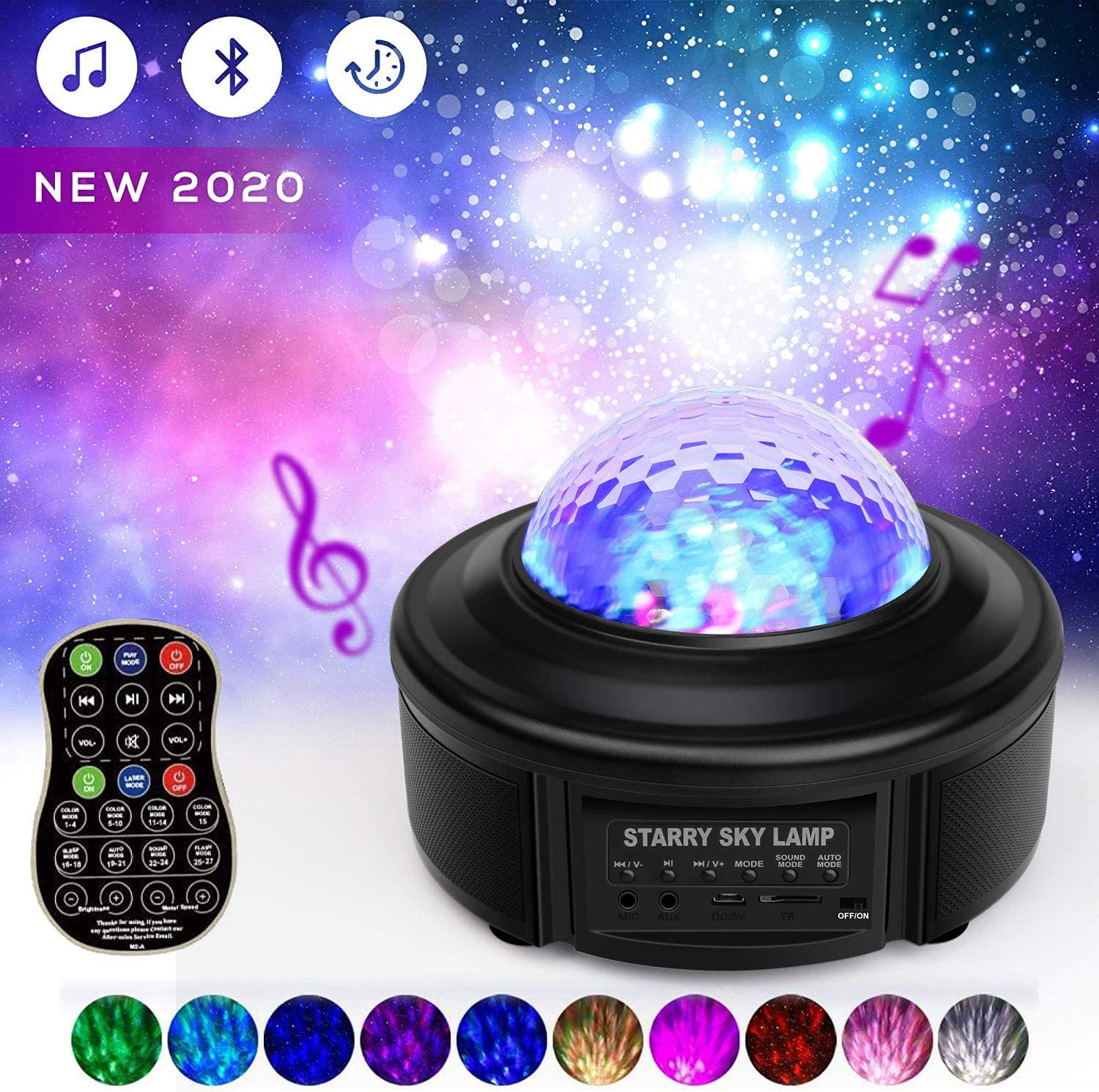 Star Projector Night Lights, Sky Lite Galaxy Projector Starlight Lamp Led Starry Sky Light/Stage Light, SPUHO Auto Timing Music Player Starry Light Projector for Kids Bedroom Adults Party Deco Gifts