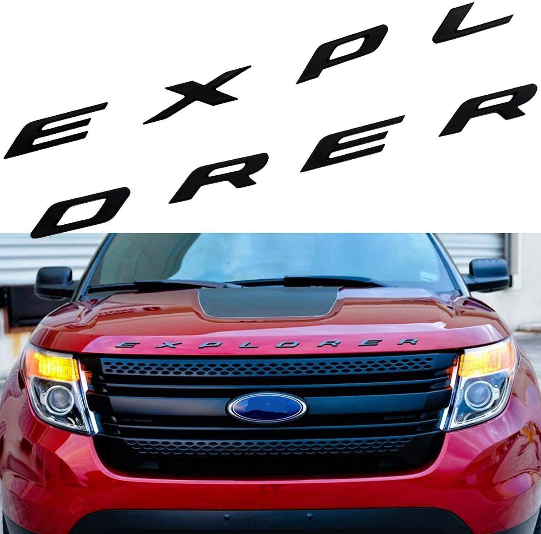 3D Metal Hood Letters Emblem, for Explorer, not plastic, Front Hood Emblem English Letter Logo Car Decoration (Gloss Black)