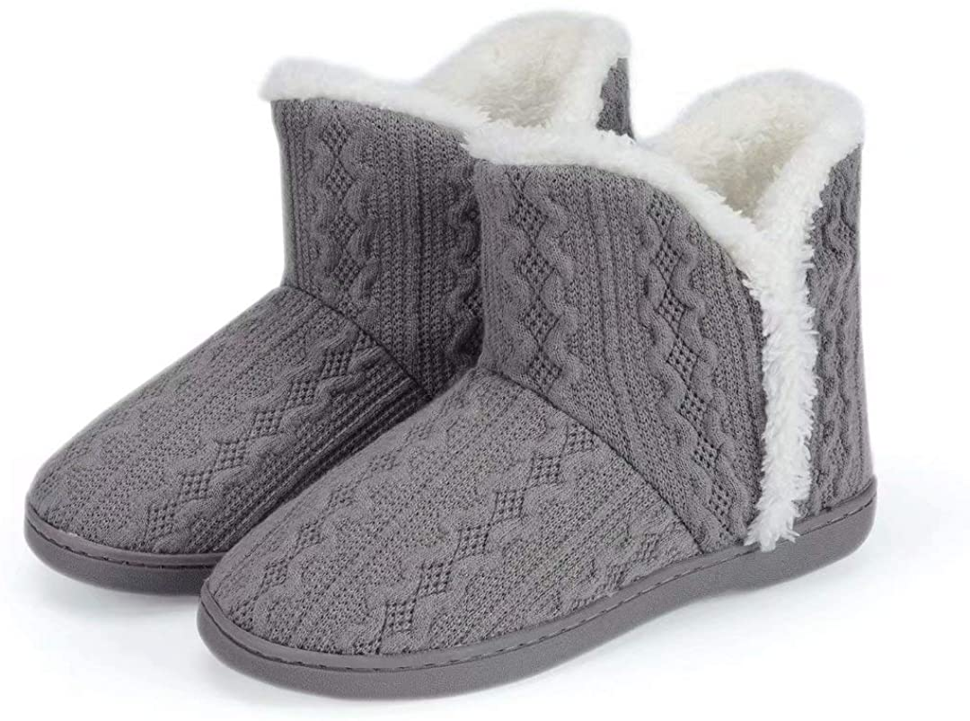 NineCiFun Womens Warm Bootie Slippers Fuzzy Outdoor Indoor House Slippers with Plush Fur Lining
