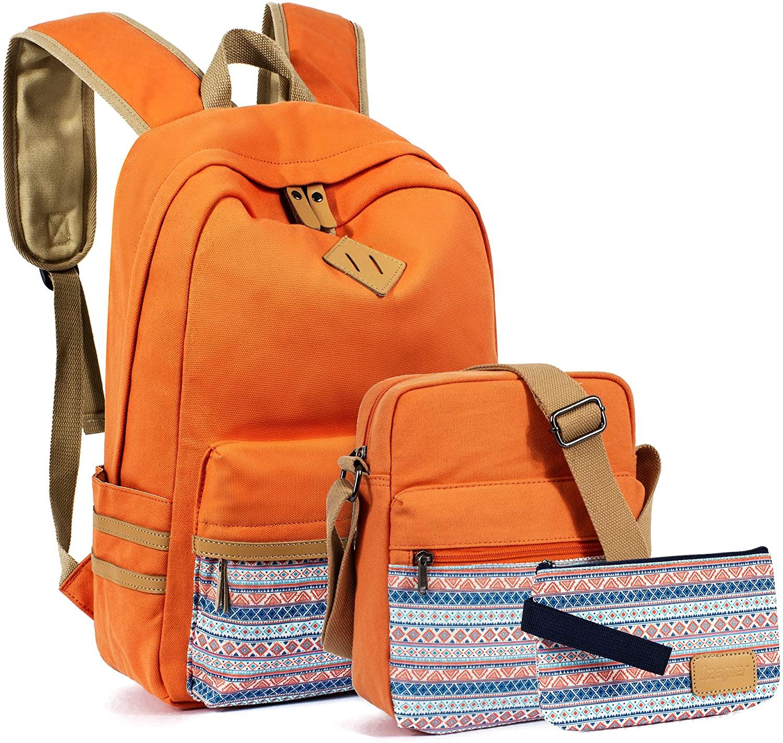 VOLINER 3Pcs/Set Cute School Laptop Backpack Shoulder Messenger Bag Pencil Pouch Light Orange