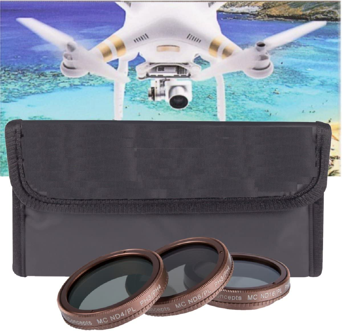 3 Piece Polarized Filter Kit - Includes ND4-ND8-ND16 Gold Edition Filters for DJI Phantom 3 4K, DJI Phantom 3 Advanced, DJI Phantom 3 Pro, DJI Phantom 4 Quad-copters