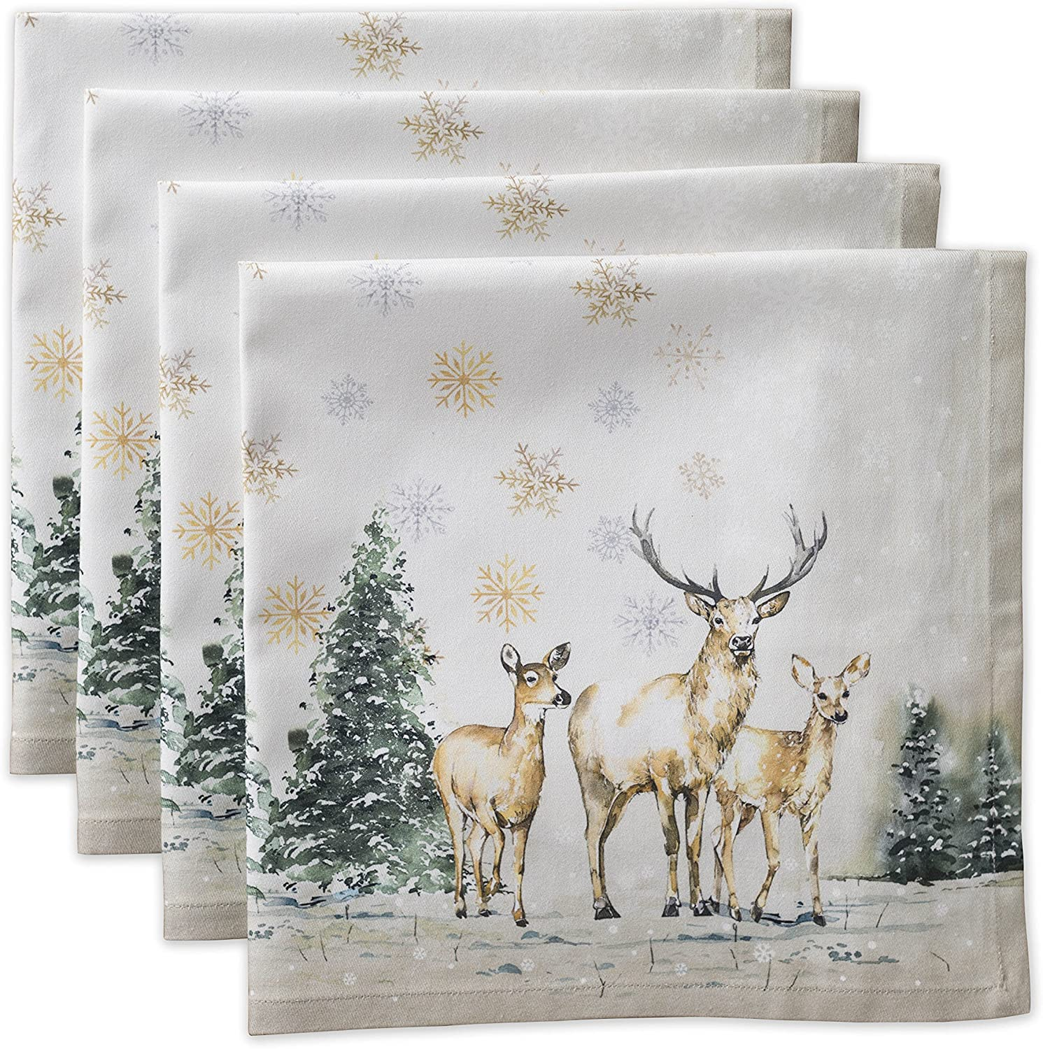 Maison d' Hermine Deer in The Woods 100% Cotton Soft and Comfortable Set of 4 Napkins Perfect for Family Dinners | Weddings | Cocktail | Kitchen | Thanksgiving/Christmas (20 Inch by 20 Inch).