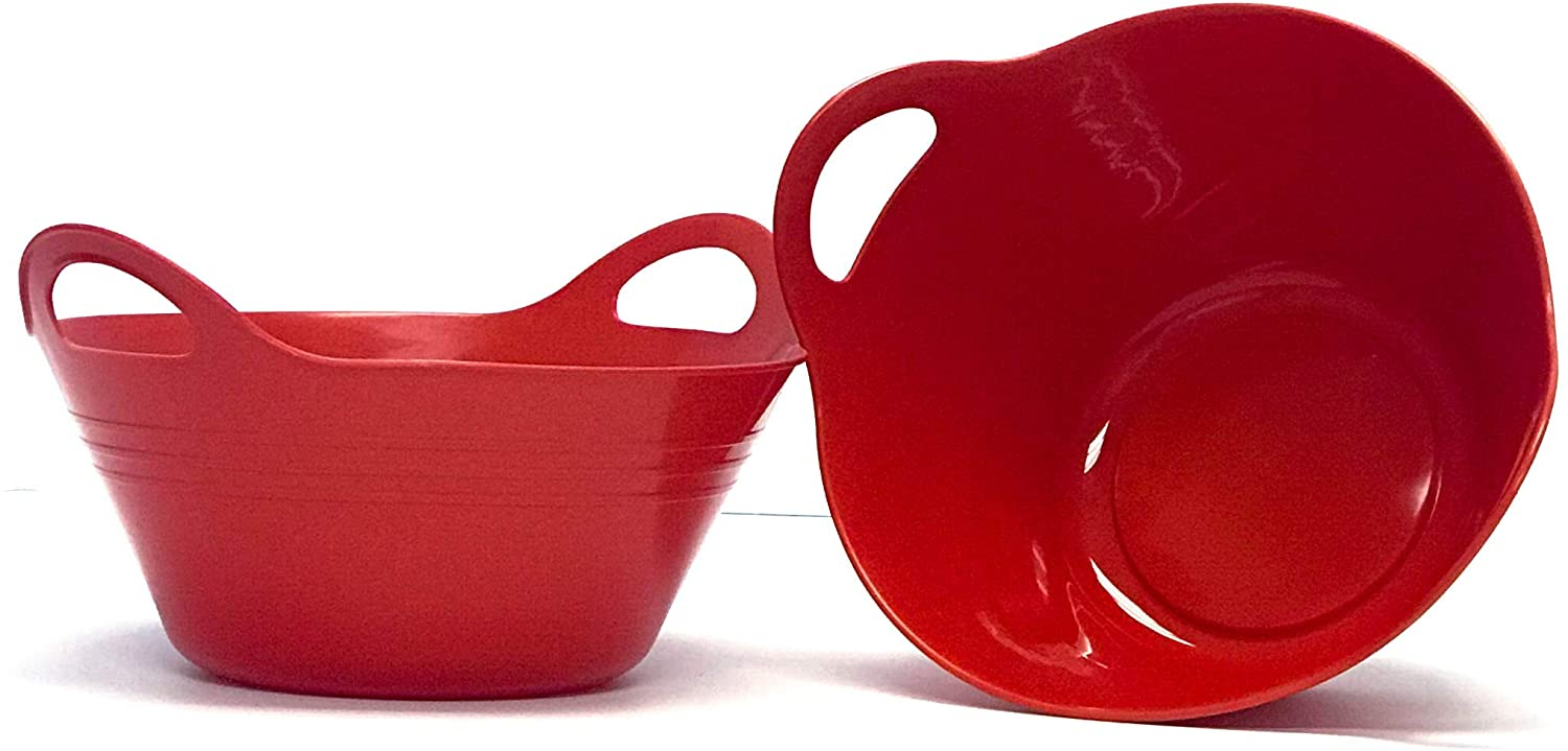 Mintra Home Plastic Bowls with Handles (Medium 2pk, Red)