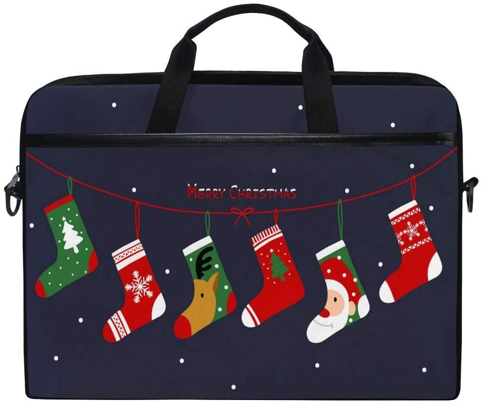 ALAZA Cute Christmas Socks in Snowflake 15 inch Laptop Case Shoulder Bag Crossbody Briefcase Messenger Sleeve for Women Men Girls Boys with Shoulder Strap Handle, for Her Him