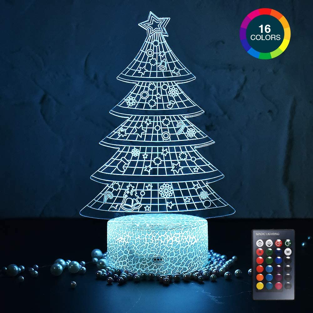 LETOUR Night Light for Kids Christmas Tree 3D Night Light Porpoise Illusion Lamp with Remote Control 16 Color Changing Xmas Halloween Birthday Gift for Child Baby Boy (Remote - Ice Crack Base)