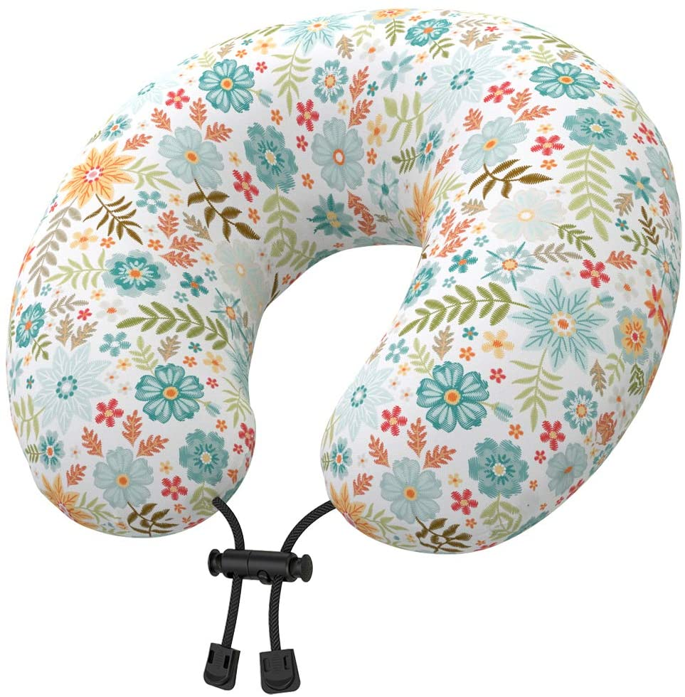 Nobildonna Latex Travel Neck Pillow with Floral Cover for Adults Women Teen Girls, U Shaped Head Chin Support Pillow for Airplane, Car, Train Sleeping or Office Home Napping (Flowers Bloom)