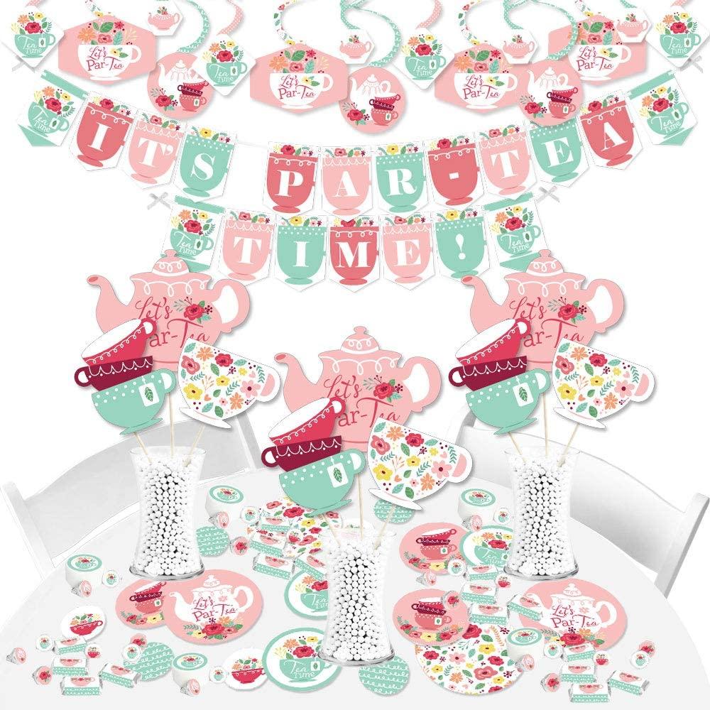 Big Dot of Happiness Floral Let's Par-Tea - Garden Tea Party Supplies - Banner Decoration Kit - Fundle Bundle