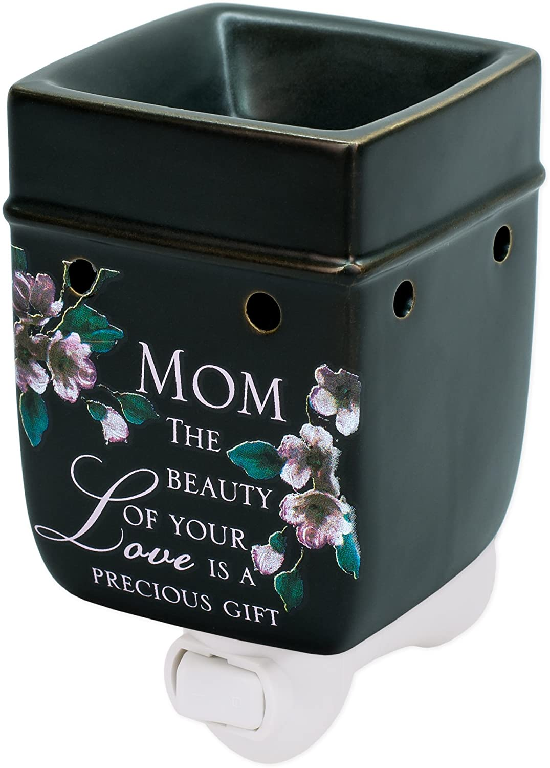 Elanze Designs Mom Beauty Love Black Ceramic Stoneware Electric Plug-in Outlet Wax and Oil Warmer