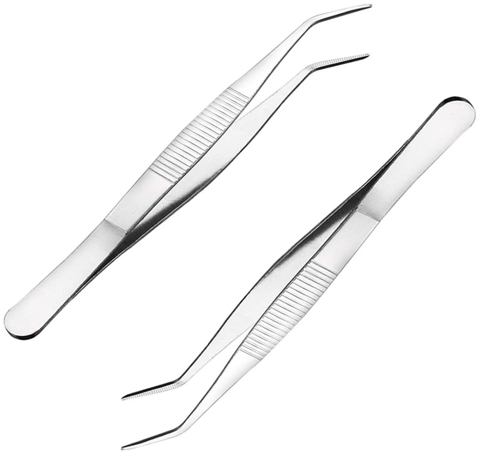 Awclub 2Pcs 8-Inch Stainless Steel Tweezers with Curved Pointed Serrated Tip
