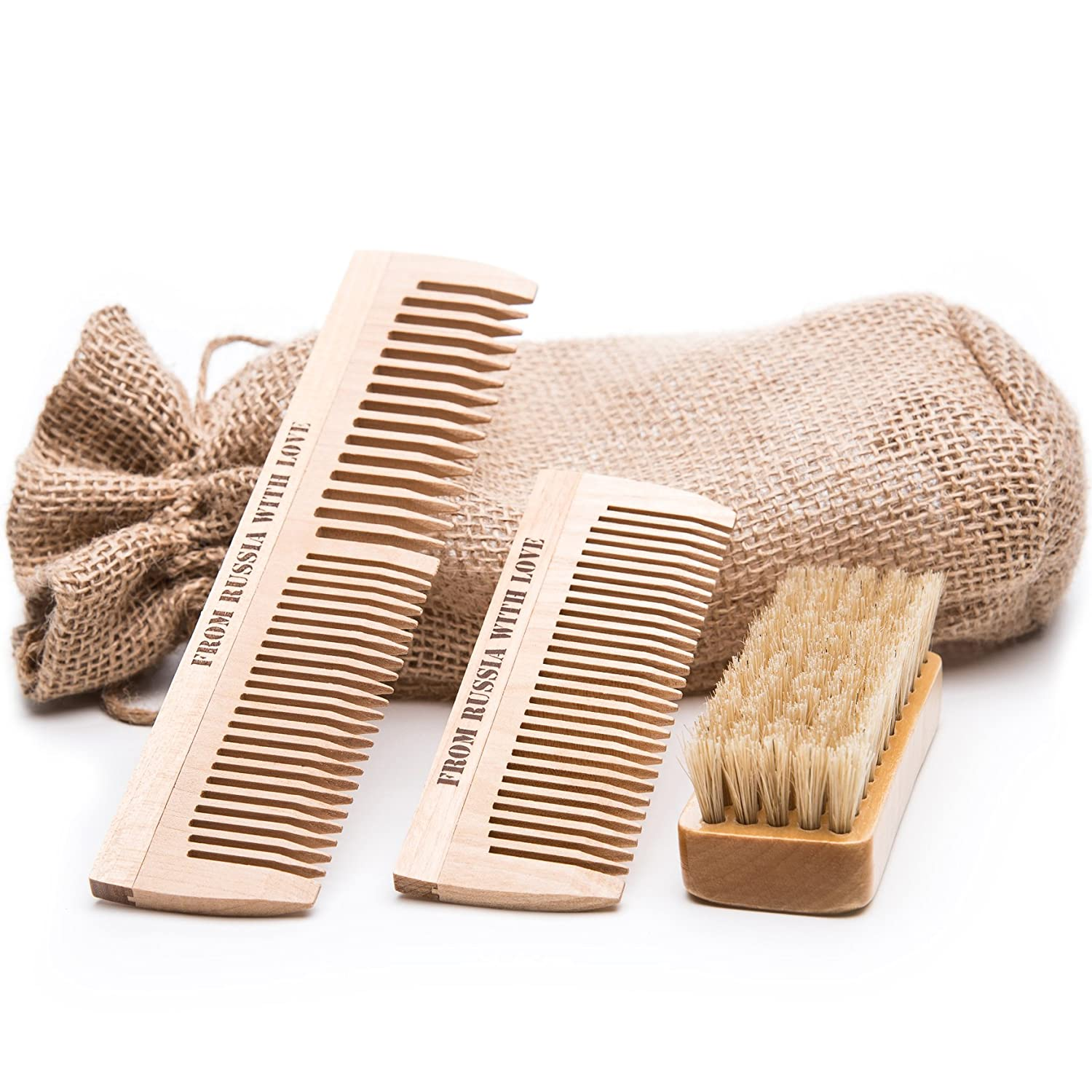 Russian Beard Brush & Wooden Combs Grooming Kit - 100% Natural Boar Bristle & Organic Birch Wood - Use With Oil, Balm or By Itself - Includes Sackcloth Pouch, Brush and 2 Combs
