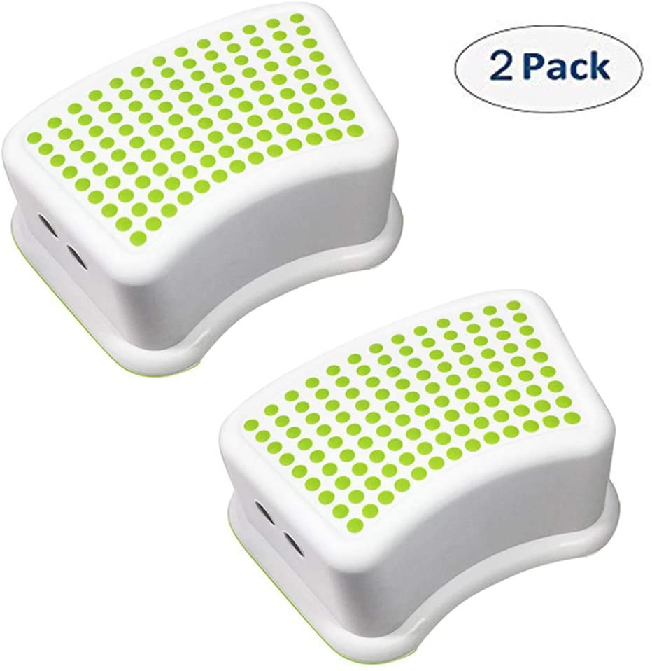 SINCOS 1 Step Stools for Kids - (2 Pack, Green) Toddler Step Stools for Toilet Potty Training, Bathroom and Kitchen - Slip Resistant Soft Grip for Safety, Stackable