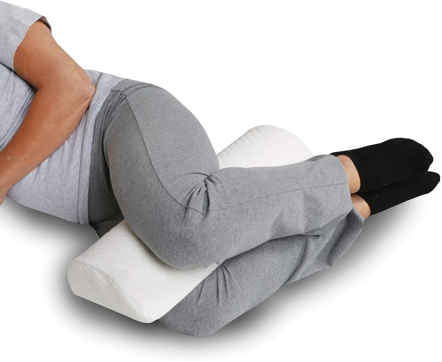 Half-Moon Bolster/Wedge Pillow - Premium Support for Sleeping on Side or Back - Back Pain Relief, Head, or Knee Cushion - Memory Foam Washable Removable Cover - 20